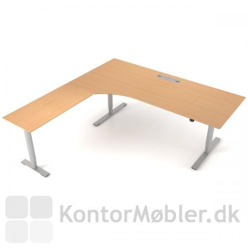 Delta hæve sænke bord med sidebord giver ekstra bordplads. Her vist med kabelgennemføring med klap