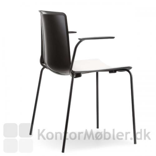 Tweet mødestol med stel og armlæn i sort