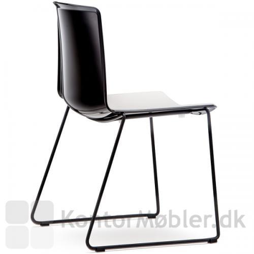 Tweet stol med meder, sort ryg og hvid forside