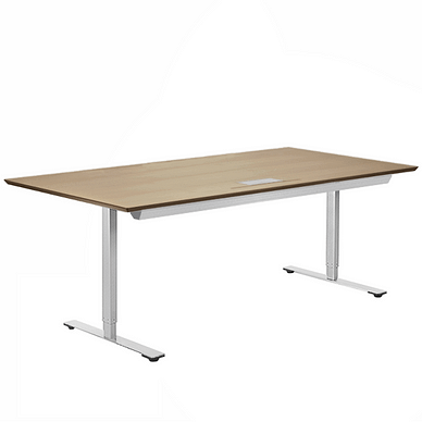 Delta hæve sænke bord med alu stel og alu kabelbakke samt kabelgennemføring