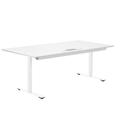 Delta hæve sænke bord hvid laminat med kabelbakke og kabelklap