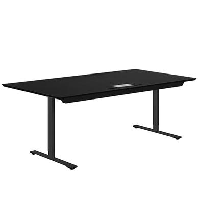 Delta hæve-sænkebord i sort linoleum med stor kabelklap og rummelig kabelbakke