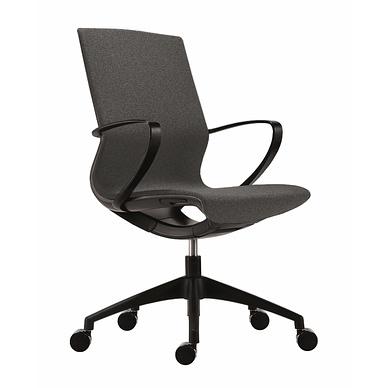 Vision kontorstol med sort stel og mørkegrå polstring