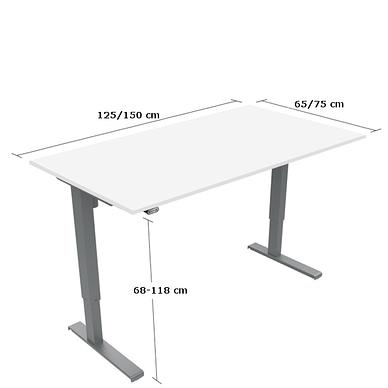 Basic hæve-sænkebord med bordplade i hvid laminat