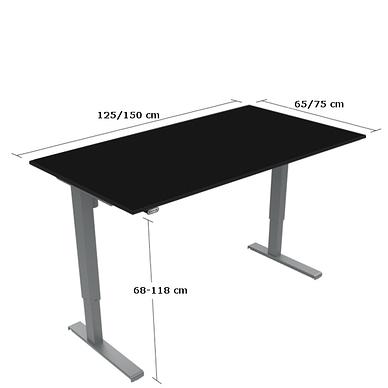 Basic hæve-sænkebord med bordplade i sort laminat